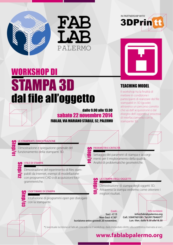 Locandina Workshop di Stampa 3D_22 novembre 2014